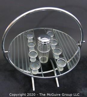 "Chrome and Etched Glass Art Deco Tilt-Top Gyro Bar; with glass inserts and shaker.  Furniture. Vintage. 21""Diameter (24.5 with handle) x 13""T"