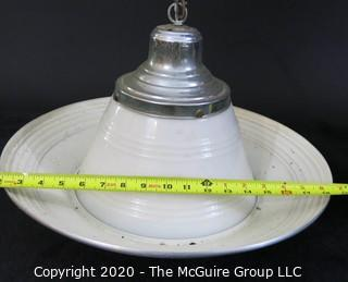 Vintage Art Deco with Chrome Fender and Milk Glass Shade Hanging Pendant Lamp. Originally hung in 1920's Alexandria Firehouse.  Lighting