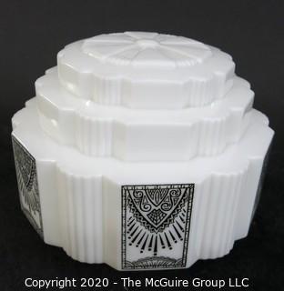 "Lighting: Art Deco Milk Glass Lamp Shade; 11"" Wide"