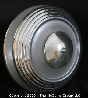 "Art Deco Chrome Hanging Ceiling Light with cobalt blue glass insert; 15""W.  Lighting. Vintage"