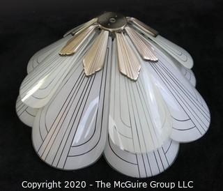 "Art Deco Style Petal Form Etched Glass and Chrome ceiling hung lamp shade.  Includes spare petal not shown. 22.5"" Wide. Lighting"