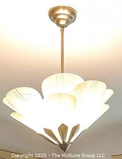 """Art Deco Style Petal Form Etched Glass and Chrome ceiling hung lamp shade.  Includes spare petal not shown. 22.5"""" Wide. Lighting"""