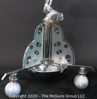 "Art Deco Chrome and Etched Tri-Panel Glass Ceiling Mount Pendant Light; 16""W x 24""T"