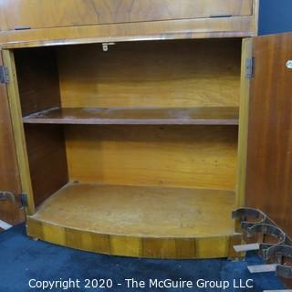 """1930's Art Deco: Rivington Cabinet Works (London) Mid Century Dry Bar with Lighted Fold down door and mirrored panels with accessories.  Measures approximately 42""""W 31""""T 15""""D. Vintage Furniture"""