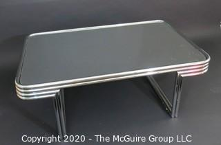 "Art Deco Style Heavy Chrome and Smokey Glass Coffee Table; Swaim Furniture Company; 32 x 48 x 17"" Tall (Note: Description altered 11.14.20 @ 3:20pm ET)"