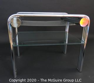 "Art Deco Style Heavy Chrome Glass Occasional Table, Swaim Furniture Company; modified with 2 lower plexiglass shelves; 26.5 x 26.5 x 22""T"