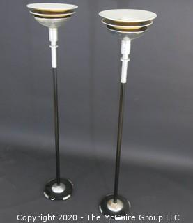 "Vintage Pair Art Deco Chrome and Mustard Yellow Enamel Painted Torchiere Lamps; 68""T  Lighting"