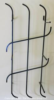 """Art Deco Three Shelf Art Deco Iron and Glass Wall Mounted Display Shelf; Originally used as Shoe Display Fixture in Gimbels Department Store. Includes glass Shelving not shown in photograph. 17""""W x 36T x 9.5""""D"""