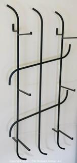 """Art Deco Three Shelf Art Deco Iron and Glass Wall Mounted Display Shelf; Originally used as Shoe Display Fixtures in Gimbels Department Store. Includes glass Shelving not shown in photograph. 17""""W x 36T x 9.5""""D"""