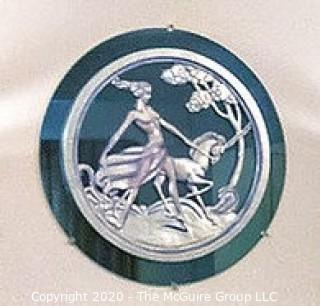 """Art Deco Blue Glass Mirror with Overlay of Woman Walking with Unicorn; 30.5"""" Diameter"""