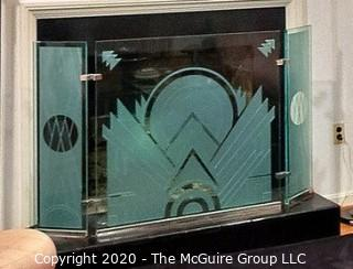 """Etched and Beveled 5/8"""" Tempered Glass Art Deco Motif Fireplace Screen with Chrome Accents and Hinges; Reproduction of Italian Piece by Resnick of Alexandria, VA; center panel 36""""W x 34.5""""T; side panels 10"""" each"""