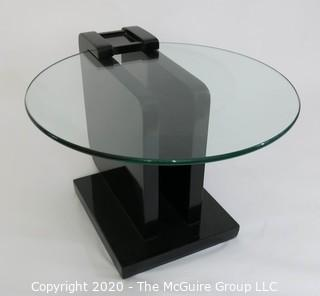 """Art Deco style 2 Level Black Lacquered Cocktail Table with Suspended Glass Insert; 24"""" diameter glass; Base 14"""" x 19"""""""