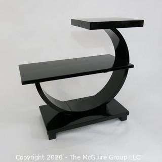 """Art Deco 2 Level Stepped Back Black Lacquered Cocktail Table with Arched Support. 22 x 12 x 26""""T"""