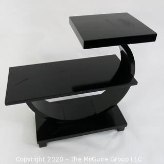 "Art Deco 2 Level Stepped Back Black Lacquered Cocktail Table with Arched Support. 22 x 12 x 26""T"