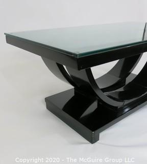 """Art Deco: Glass Topped Black Lacquered Cocktail Table with Arched Support; 40.5 x 22 x 17""""T"""