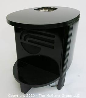 "Custom made vintage Philco AM Tube Radio Inserted into Black Lacquered Cocktail Table with Circular Lower Shelf. 24.5 x 15 x 19""T. Furniture (Note: Description altered 11.18.20 @ 10:25am ET)"