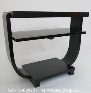 "Art Deco Black Lacquered Two Shelf Cocktail Table with Arched Support; 27 x 12 x 22""T."