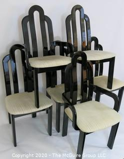 """Set of 6 Art Deco style Black Lacquered """"Paperclip"""" Dining Chairs; 4 side, 2 arm; back height 42"""""""