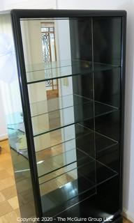 "Art Deco Style Black Lacquered Etagere with 4 glass shelves and mirrored back. Made in Italy. 36W x 15D x 80""T"