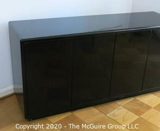 """Art Deco Style Black Lacquered Buffet; (2) sets of double doors, each with pullout top drawer with two shelves beneath. Made in Italy. 66W x 20D x 32""""T"""