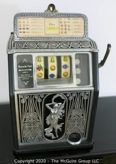 """The Naked Lady"" Art Deco Caille Bros. Superior 25 Cent Bell Fruit Gum Slot Machine, circa 1925 in Working Condition. 13 5/8"" x 12 3/8"" x 22""T."