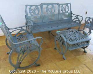 "Art Deco HEAVY Cast Iron Patio Garden Set Made by Jacobs Manufacturing Company., Bridgeport, Alabama, circa 1940.  Bench is 53"" Long. Outdoor Furniture."