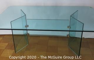 "Art Deco Style ""Vee"" Dining Table.  Includes 5/8"" Thick Glass Top With 1"" Bevel Edge and Sits on Glass Base. 78""L 48""W 29H. Note: ~ 1/2"" chip on underside of table top along edge."