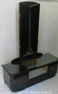 "Art Deco style Black Lacquered Low Dresser with Shadow Box Mirrored Display Area and Attached Triptych Fan Dressing Mirror.  52.5""W x 18""D x 66""T"