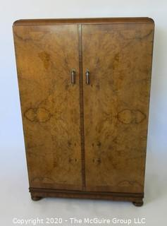 "Tall men's dressing cabinet; Art Deco Period Piece with highly figured book-matched veneer front; 33""W  51""T x 19""D.  Vintage. Furniture."