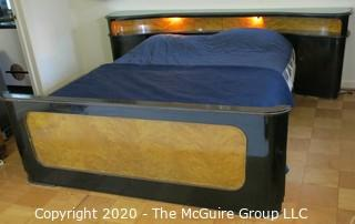 """Art Deco Bed Frame, Black Lacquered and Bird's Eye Maple Veneer. From Hotel in Berlin, Pre War.  Lighted Head Board with Storage. 100""""W x 32.5""""T. Baseboard is 77""""W x 27.5""""T. Queen Size."""
