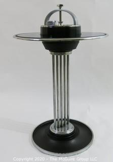 """Art Deco Union Pacific Climax Cocktail Smoker by J.W. Cambell with Blue Glass Mirror. Measures approximately 16"""" in diameter and 21"""" tall."""