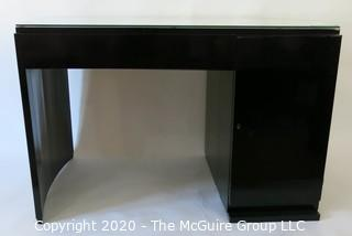 "French Art Deco Black Lacquered Desk with Curved Sides & Four Drawers.  Includes non-period ""Paperclip"" Chair. Desk Measures 47W x 27.5D x 30T"