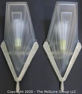 """Pair of French Art Deco Frosted Glass Wall Light Sconces by David Gueron, Signed Degué, with Fan Shaped Glass Shade with Intricate Geometric Motif in Nickel Frame. 14.5""""T x 7.5""""W"""