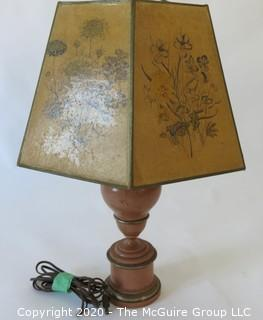 """Wooden Desk Lamp with shade; 25""""T"""