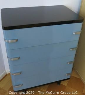 "Metal Machine Age Four Drawer Cabinet. Rescued from West Virginia University Student Dormitory. 30""W x 19D x 40""T"