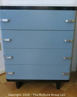 """Metal Machine Age Four Drawer Cabinet. Rescued from West Virginia University Student Dormitory. 30""""W x 19""""D x 40""""T."""