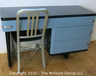 "Metal Machine Age Four Drawer Desk. Rescued from West Virginia University Student Dormitory. 50W x 19D x 30""T, with Aluminum Straight Back Side Chair."
