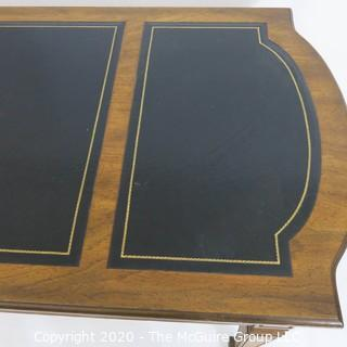 "Embossed Leather Topped Fruitwood Writing Desk with three drawers and gilt Decoration, Made in France; 60W x 27D x 30""T"