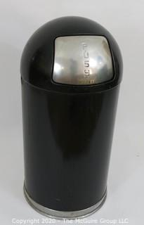 "Restaurant Style Vintage Push-Top Standard Dome Trashcan in Black; 13 x 30""T"