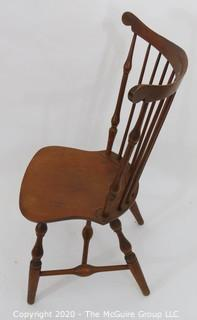 "Windsor Spindleback Side Chair, circa 1930's, made by Nichols - Stone Co. Top rail to top rail width 24.5"", center top rail height 35.5 x seat height 17""."