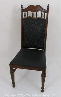 "Vintage Straight Back Side Chair with Black Leather Quilted Back & Detailing; 41""T x 17.5"" Seat Height x 18"" Seat W at front x 16""D"