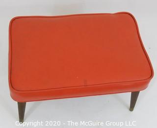 Mid Century Modern Orange Leather Top Ottoman with Splayed (screw-on) legs; 16 x 24 x 13.5T