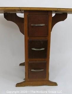 "Drop Leaf Work Table or Desk with Three Drawers; center panel 12""W x 24D x 29.25""T; each wing adds 17.5"" to top when extended"