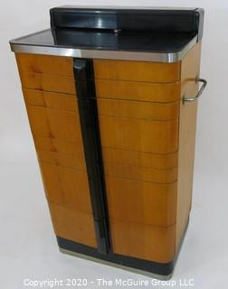 Industrial Art Deco Dental Cabinet with milk glass inserts and Chrome Detailing.  Made by the American Cabinet Company of Two Rivers Wisconsin. 74W x 16D x 42T
