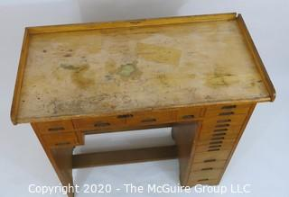 Furniture: Industrial J. H. Rosberg Manufacturing Co. Jeweler's Desk or Watchmakers Work Bench with Railing, Multiple Wood Drawers in Differing Sizes to Keep Tools organized and Catch Tray to Collect Bench Sweeps. 40W x 20D x 39""