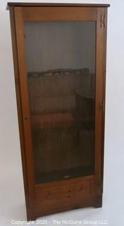 "Wooden Gun Case with Bottom Drawer and Glass Paneled Door. 16.5W x 10.5D x 64""T"