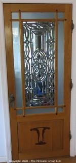 "Solid Oak Interior Door with Center Leaded Faceted Glass Panel.  Features two different marquetry inlaid accents on bottom panel and Art Deco Period Hardware, including 3 ""Bullet"" Hinges.  Architectural Salvage. 31.5W x 75T x 1.75"""