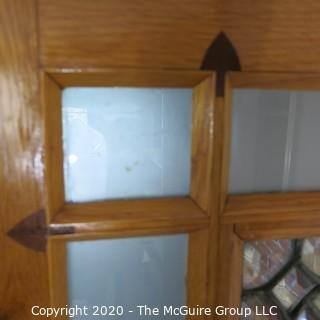 """Solid Oak Interior Door with Center Leaded Faceted Glass Panel.  Features two different marquetry inlaid accents on bottom panel and Art Deco Period Hardware, including 3 """"Bullet"""" Hinges.  Architectural Salvage. 31.5W x 75T x 1.75"""""""
