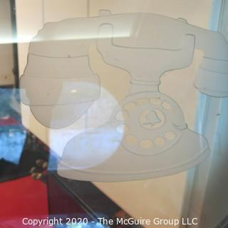 """Brushed Aluminum Diner Door with Round Glass Panel Etched with Telephone Design; 30W x 80""""T Reproduction (Note: Description altered 11.14.20 @ 3:27pm ET)"""