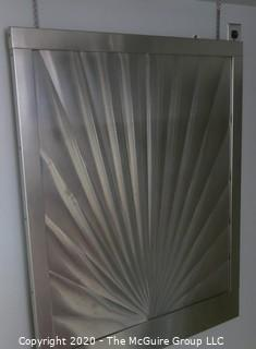 "Vintage Art Deco Stainless Steel Sunburst Pattern Over Stove Back Splash; 35W x 42T x 1""D"